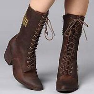 Jeffrey Campbell Holy Roller Cross Studded Boots 8